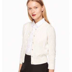 Kate Spade Ivory Silk Rhinestone Button Cardigan M